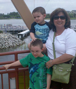 Roberta and the boys at Disney