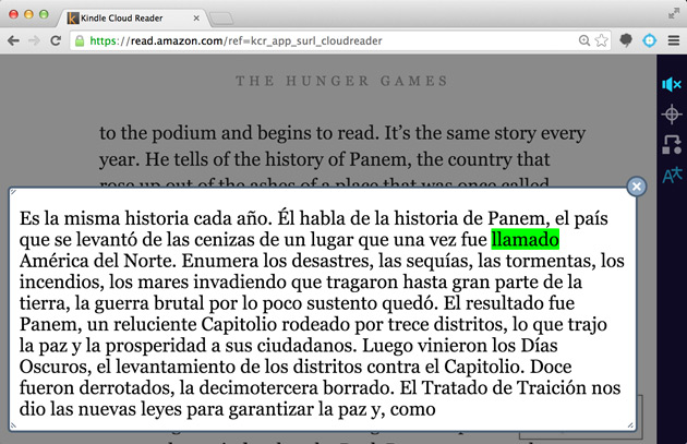Kindle-Snap-Read-Hunger-Games-Translate