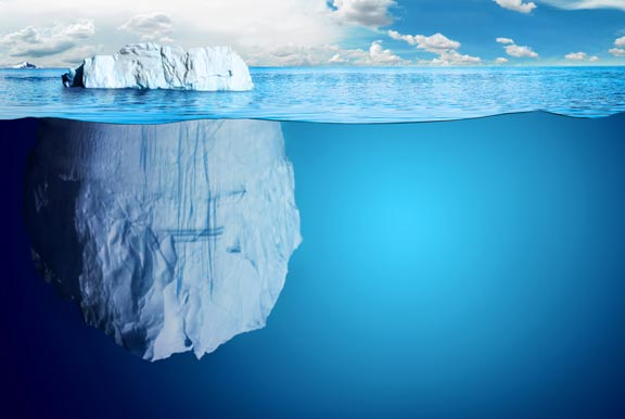 Iceberg below the surface