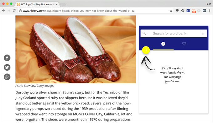 Picture of Dorothy's shoes and example of word bank creation