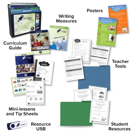 The assortment of First Author materials including Curriculum Guides, Teacher Tools, Resource USB, etc.